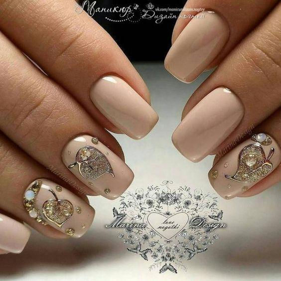 Дизайн ногтей с осенними листьями фото