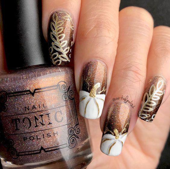 Дизайн ногтей с тыквой