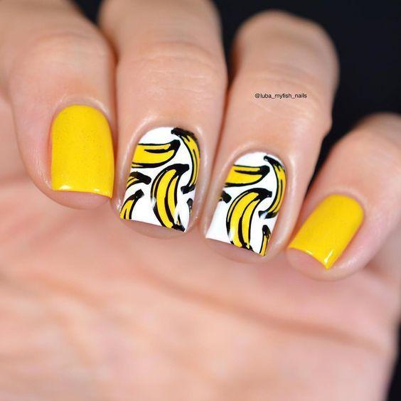 маникюр с бананами на короткие ногти