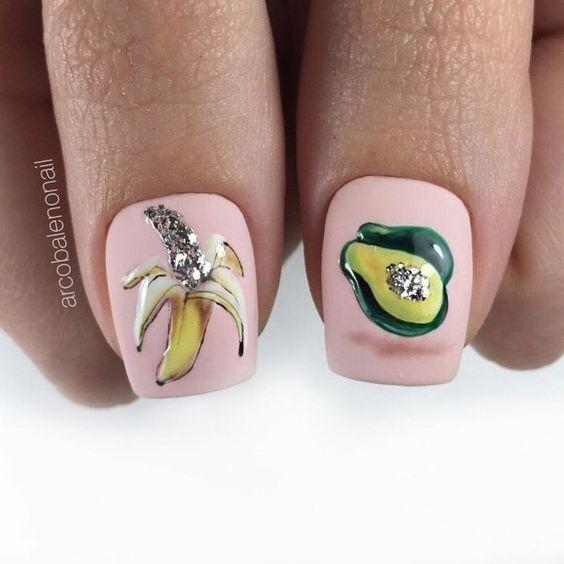 Маникюр с бананами фото: банановый дизайн ногтей