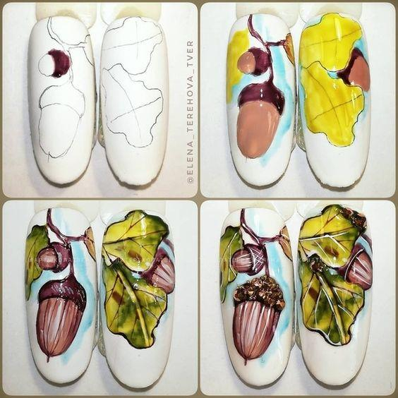 Маникюр с желудями осенний дизайн ногтей