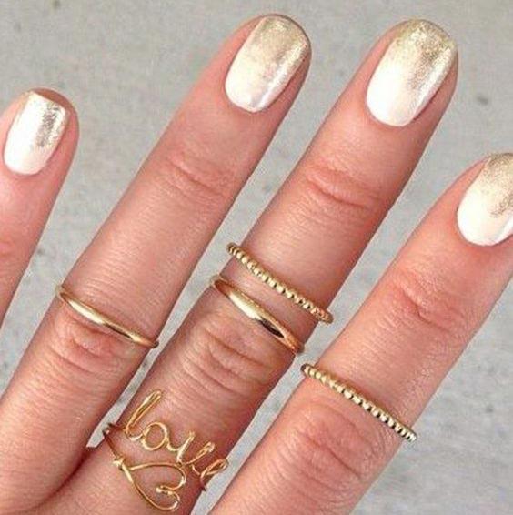 ногти на свадьбу с золотом
