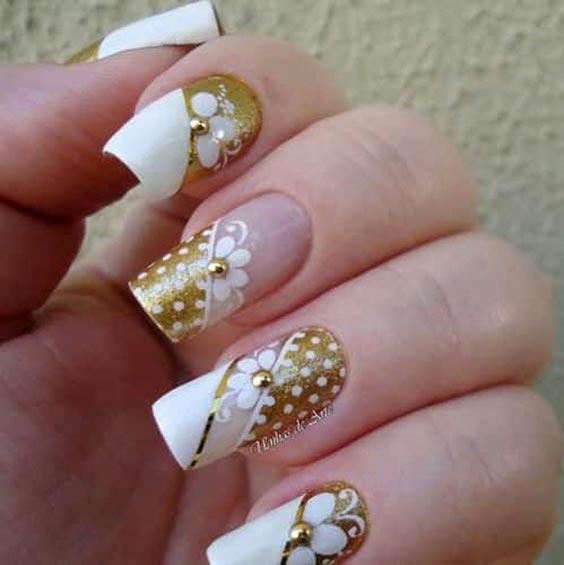 свадебный маникюр с золотом