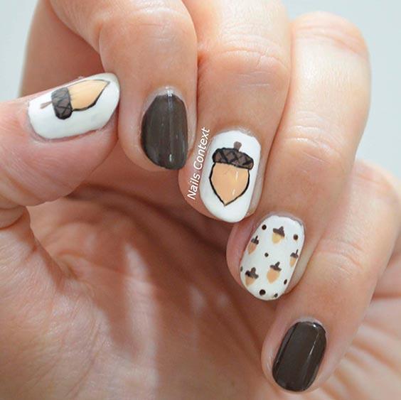 Дизайн ногтей с желудями осенний