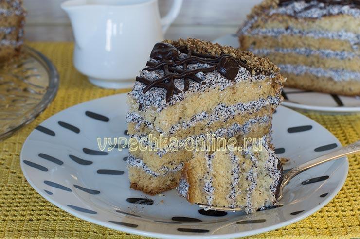 Торт с заварным маковым кремом