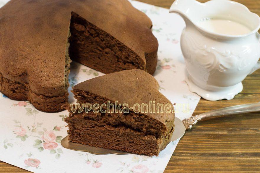 Шоколадный бисквит для торта пышный и простой в духовке