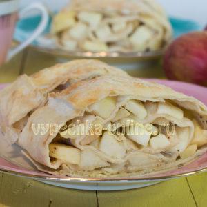 Штрудель из лаваша с яблоками в духовке с фото пошагово – простой рецепт