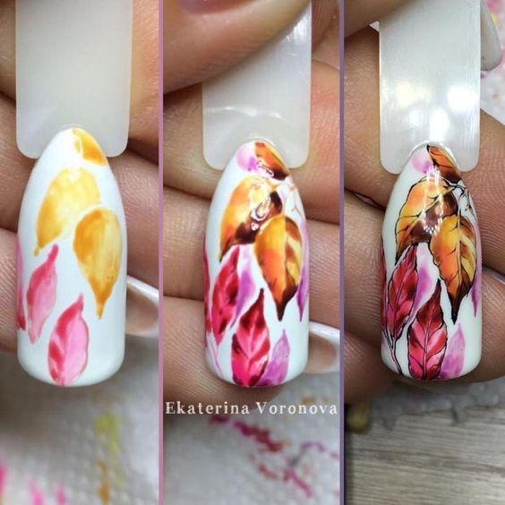 Осенние листья на ногтях дизайн