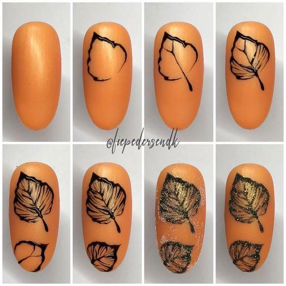 Осенний маникюр с листьями фото, дизайн ногтей