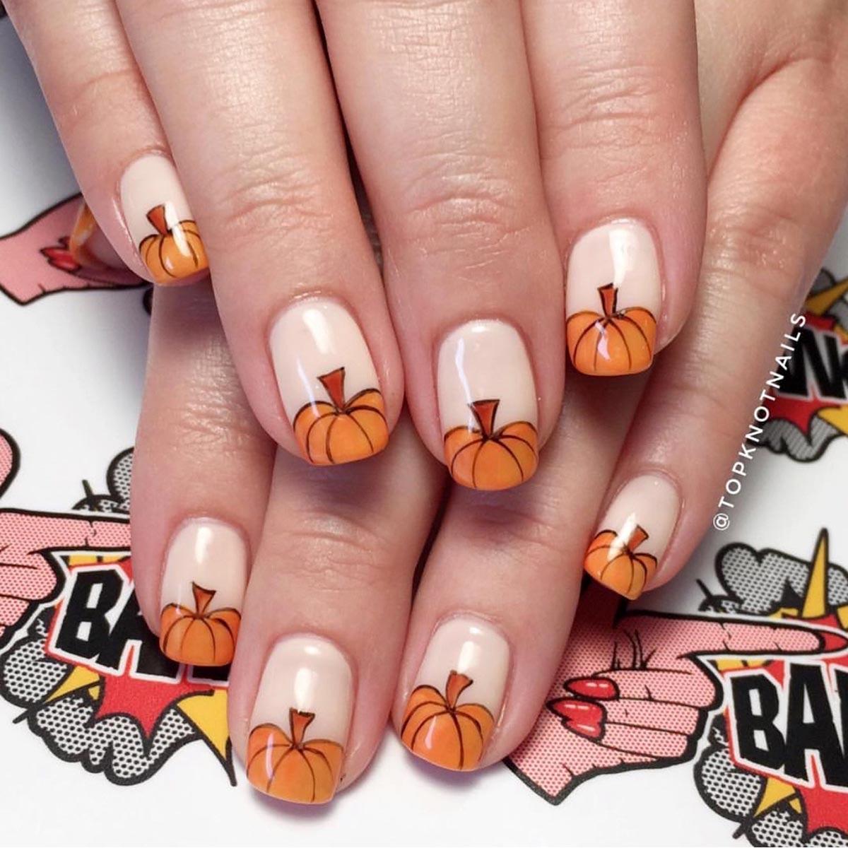 Маникюр с тыквой осенний – дизайн ногтей с фото