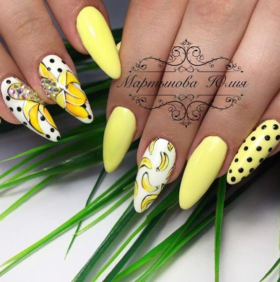 жёлтые ногти с бананами дизайн