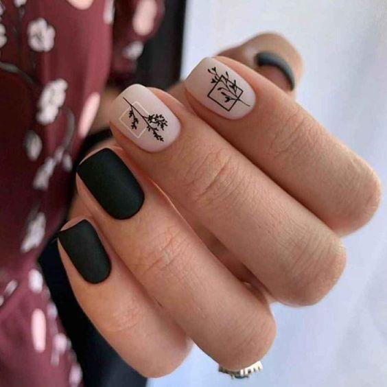 ногти черные с нюдом