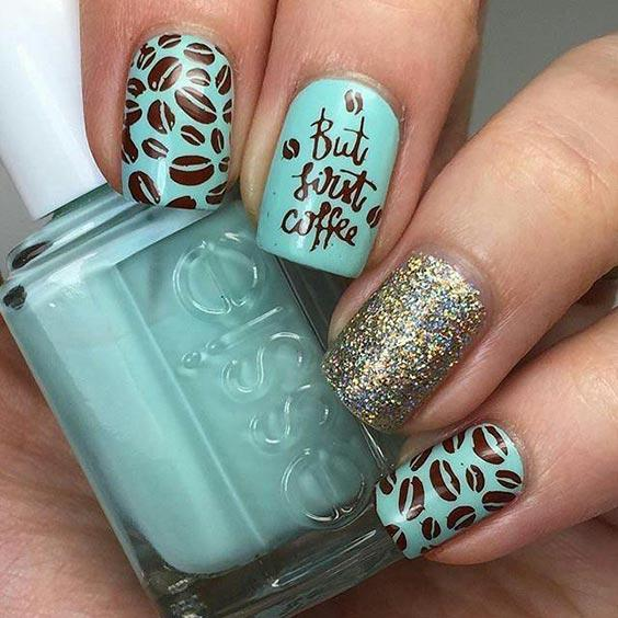 дизайн кофейных ногтей