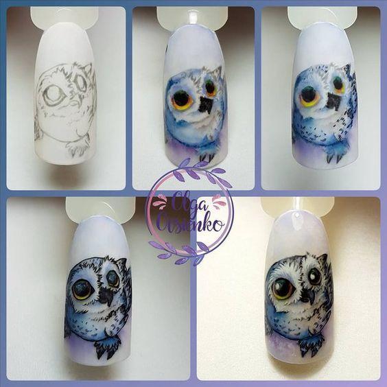 Маникюр с совой – дизайн ногтей с фото