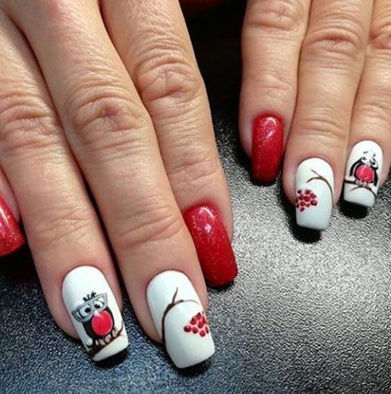 рябина на ногтях дизайн