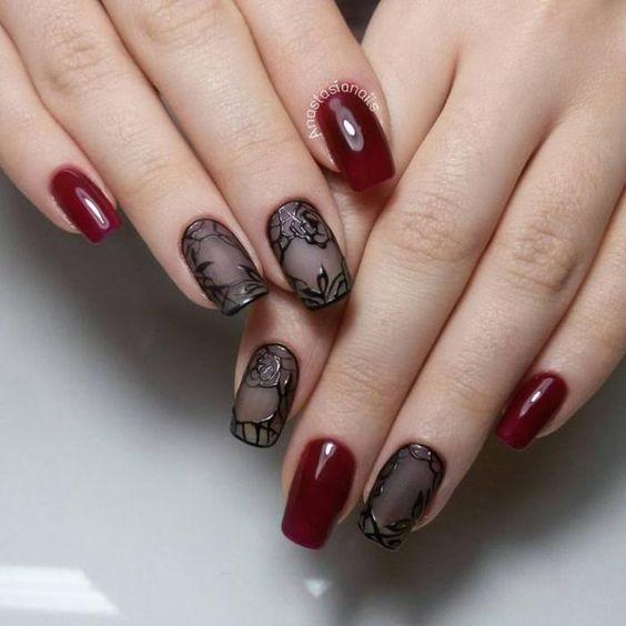 дизайн вуаль на ногтях