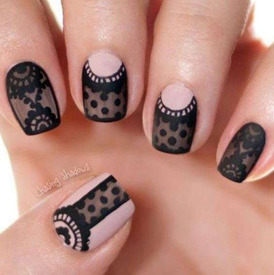 ногти вуаль черная