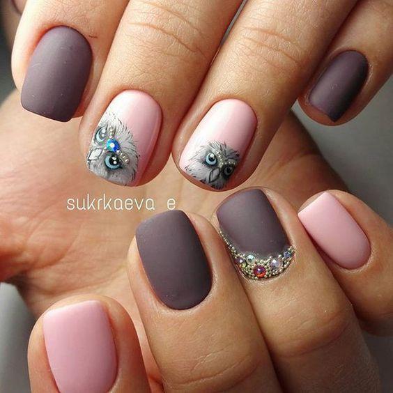 дизайн ногтей с совой