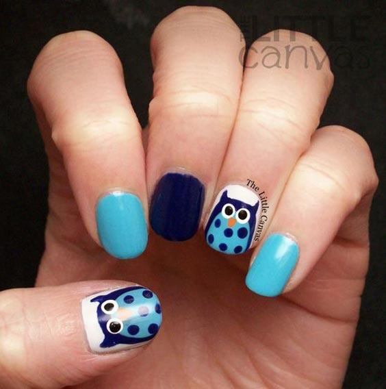 сова на ногтях