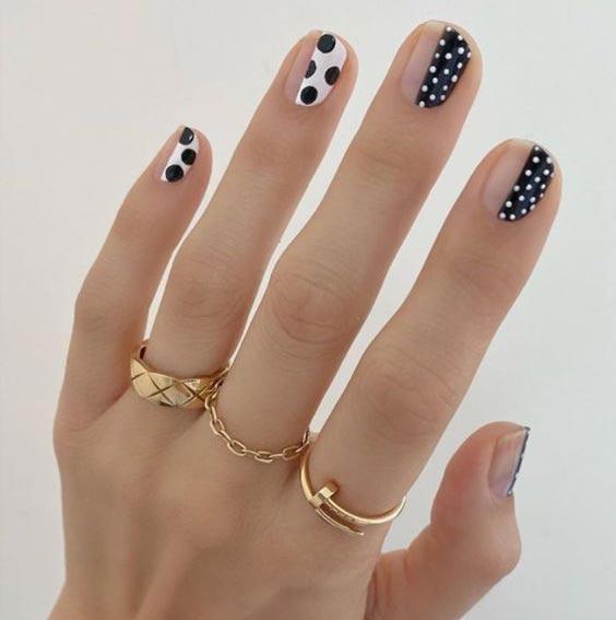 ногти в горошек дизайн фото