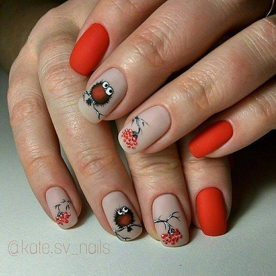 дизайн ногтей с рябиной
