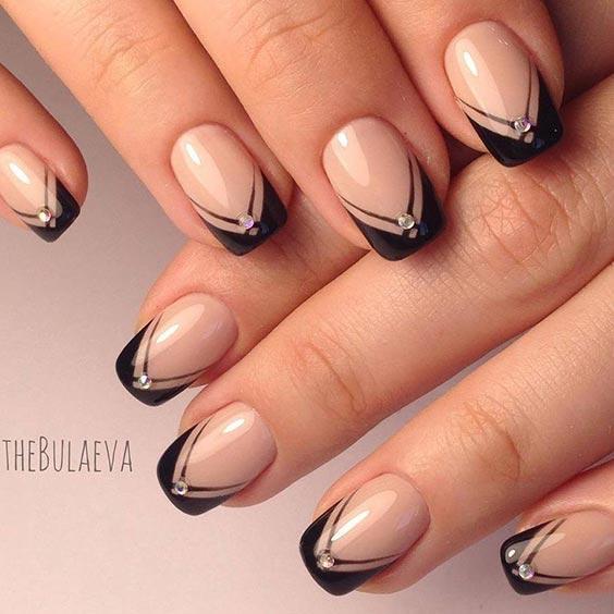 ногти черные с нюдовым