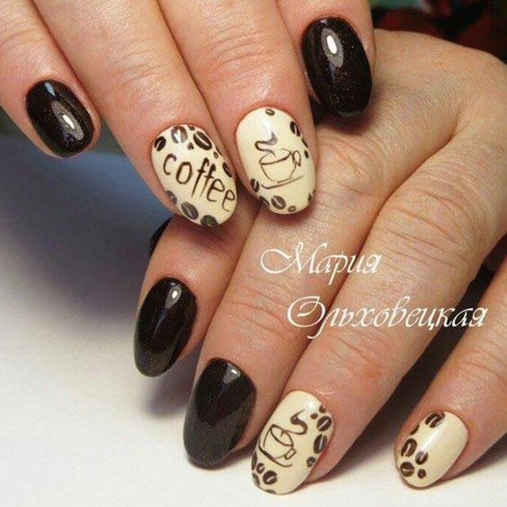 дизайн ногтей с кофе