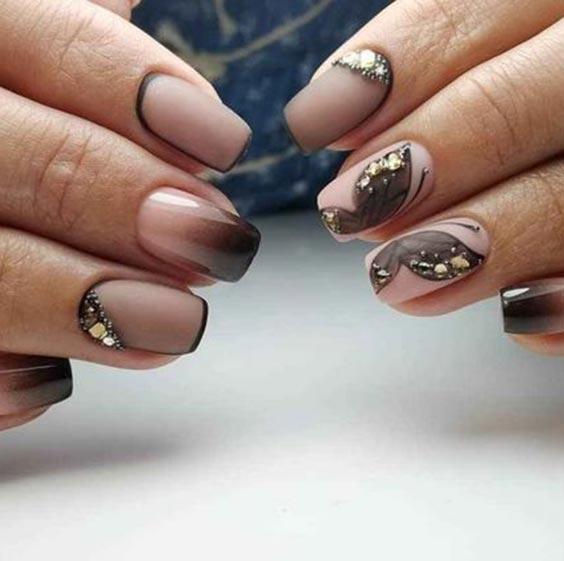 Маникюр вуаль чёрный дизайн ногтей с фото