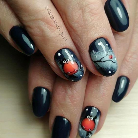Дизайн ногтей с рябиной – зимний маникюр, фото
