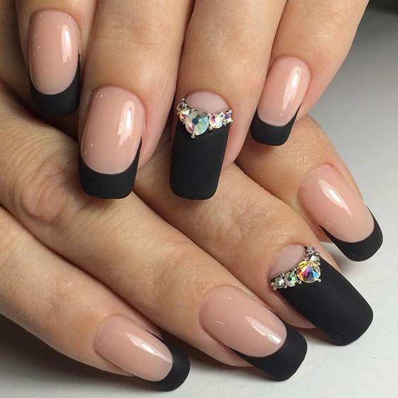 ногти чёрные с прозрачным