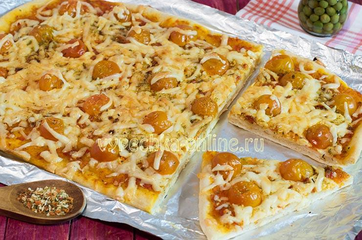 Пицца с моцареллой рецепт с помидорами черри