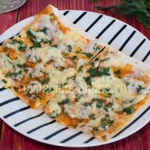 Пицца из лаваша в духовке пошаговый рецепт с фото