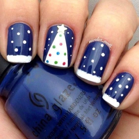 рисунок ёлки на ногтях