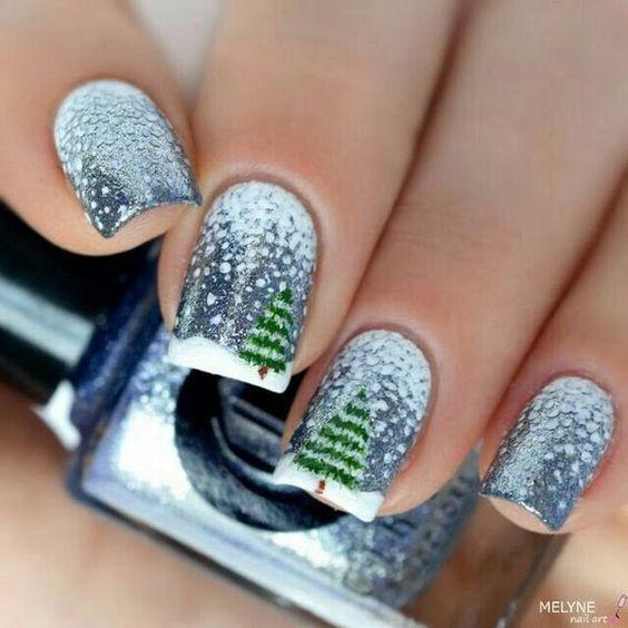 дизайн ногтей с ёлочкой