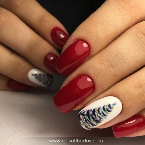 новогодние ногти с ёлочкой