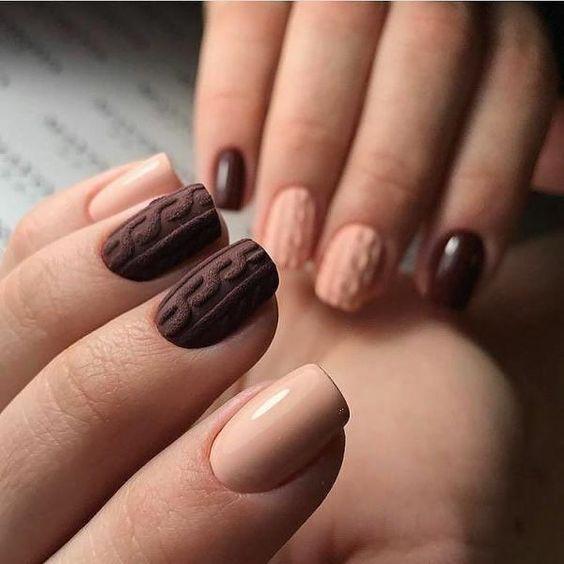 вязаный узор на ногтях
