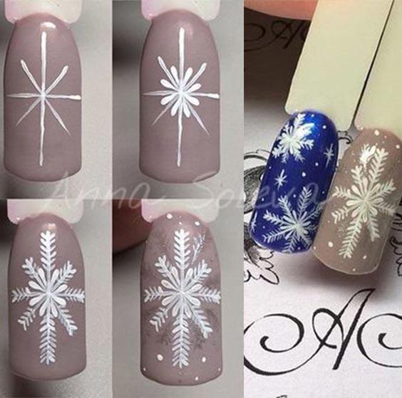 как нарисовать снежинку на ногтях пошагово