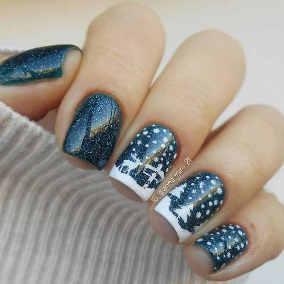 как нарисовать ёлочку на ногтях