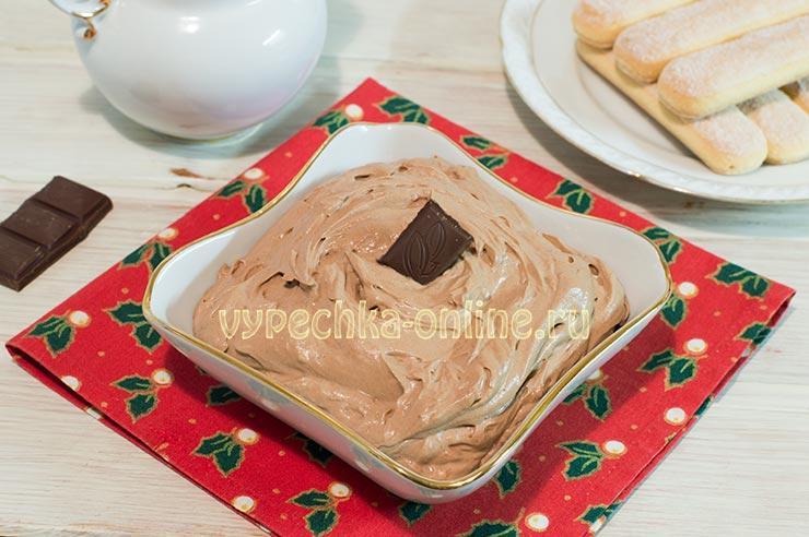 Крем для тирамису с маскарпоне без яиц шоколадный