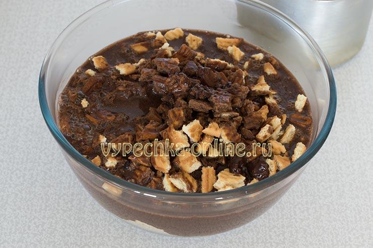 Постная шоколадная колбаса из печенья