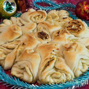 Новогодний пирог рецепт из дрожжевого теста Снежинка