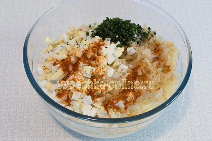 Начинка из бланшированной капусты и яйца