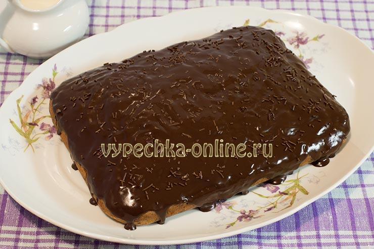 Манник с шоколадной глазурью