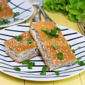 Заливной пирог на кефире с фаршем в духовке рецепт с фото
