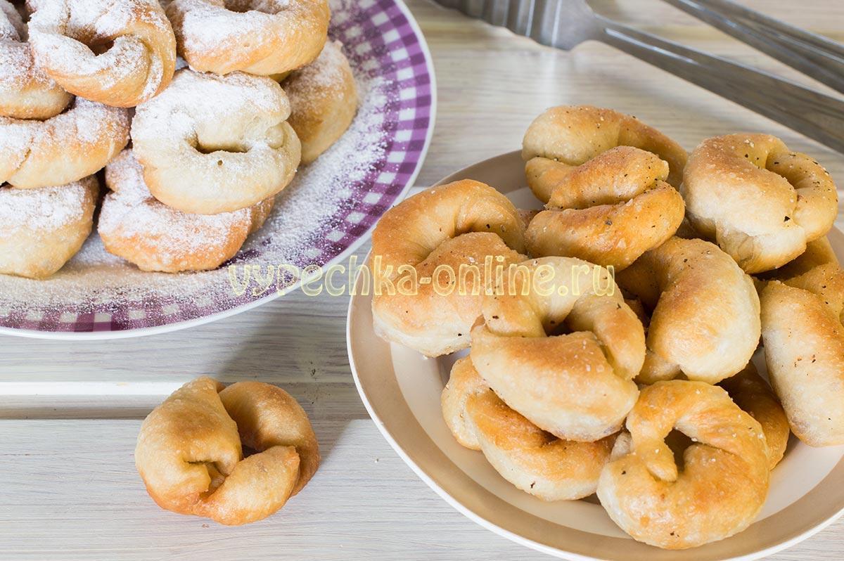 Постные пончики на живых дрожжах на сковороде
