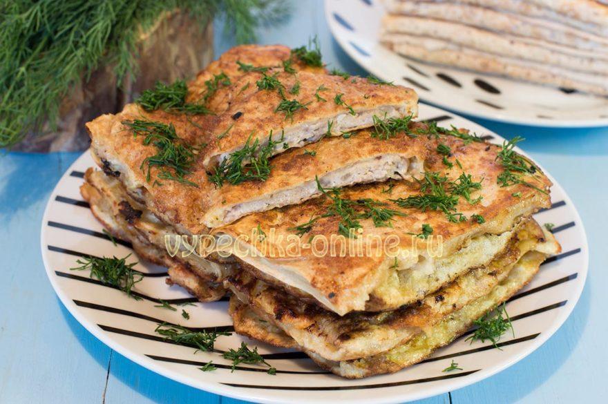 Пирожки из лаваша с фаршем на сковороде